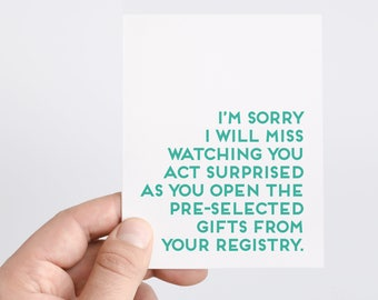 Funny Baby Shower Card | Baby Shower Gift | Funny Bridal Shower Card | Bridal Shower Gift | Wedding Gift Ideas | Girl Shower | Boy Shower
