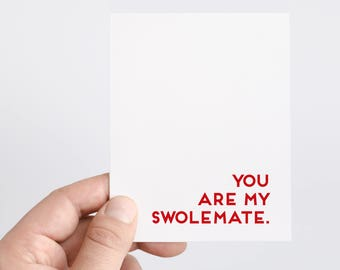 Swolemate | Valentines Day Card | You Are My Swolemate | Card for Boyfriend or Husband | Fitness | Gym | Workout | WOD | Crossfit | Work Out