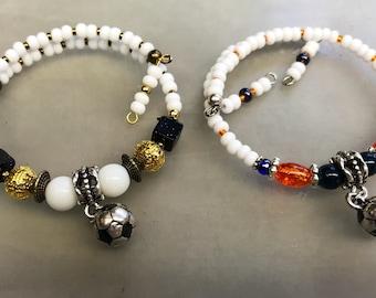 Soccer Charm Bracelet, Sports Bracelet, Sports Charm Bracelet, Soccer, Sports Wrap Bracelet, stackable bracelets,