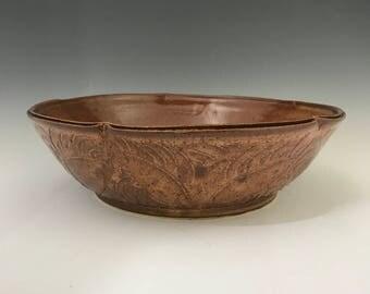 Large Pasta Serving Bowl - Hand Carved Pasta Bowl - Pottery Bowl - Handmade Salad Bowl - Stoneware Salad Bowl - Salad Bowl