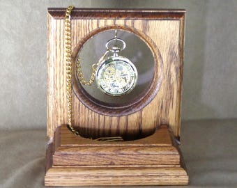 Gift for Him: Pocket Watch Stand with Manual Wind Pocket Watch, manual wind watch with stand, watch stand for his desk, holiday gift for him