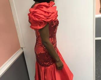 1990s Red Sequin Dress