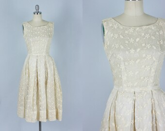 Vintage 1950s Dress | Embroidered Ivory Organza Sheer Dress | Extra Small
