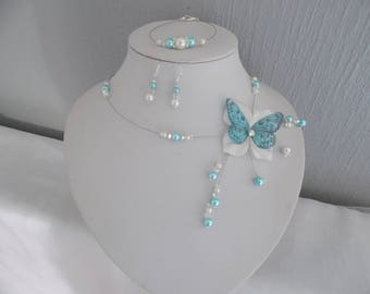 Bridal set necklace bracelet swarovski crytal Butterfly silk flower wedding earrings Silver 925 white or ivory / turquoise
