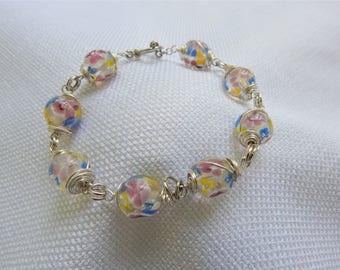 Pink Blue Yellow Lampwork Beaded Bracelet (B59)