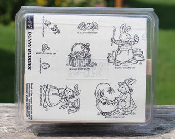 Stampin Up A BUNNY BUDDIES Rubber Stamp Set Wood Mounted Easter Eggs Bunny Rabbit Butterflies Stamping Scrapbooking New Unused