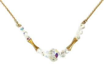 Aurora Borealis Crystal Faceted Bead Necklace, Bridal Jewelry