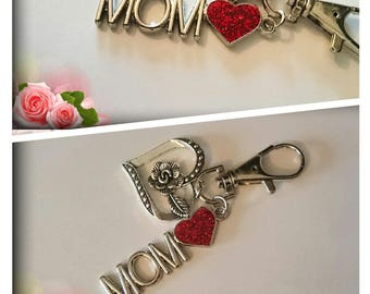 Jewelry bag 'Mom' heart and rose