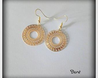Earrings Golden filigree prints