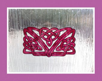 Celtic Knot decoration window cling, for glass & mirror surfaces, static cling, decal, faux stained glass effect suncatcher
