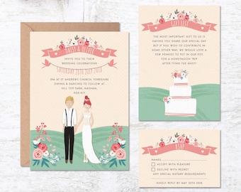 Wedding Invitation Template, Portrait Wedding Invitation, Custom Couple Invitations, Wedding Invitation Printable, Wedding Invites