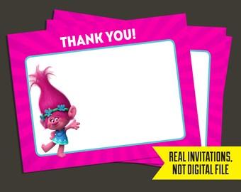 Trolls Thank You Cards - Trolls Birthday - Poppy - Thank You
