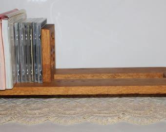 Large Expandable Sliding Solid Wood Book Rack, Golden Oak Book Ends, Book Storage Solid Wood Sliding Book Rack