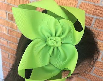 "Apple Green Hair Clip 6"" apple green hairbow, apple green hair bow, apple green big bow, apple green bow"