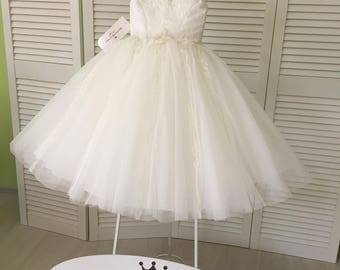 Ivory Flower Girl Dress - Birthday Wedding party Bridesmaid Holiday Ivory Tulle Lace Flower Girl Dress  17-0217