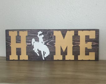 HOME Wyoming Bucking Horse Wooden Sign, Steamboat, Home decor FREE SHIPPING