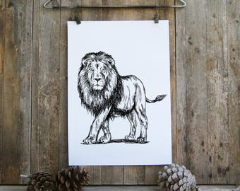 Kids Room Decor, Lion Printable Art, Lion Nursery, Leo Print, Woodland Animals, Printable Wall Art, Nature Wall Decor, Wild Animals print