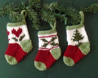 3 MINI CHRISTMAS STOCKINGS - hand knit - perfect for gifting small item