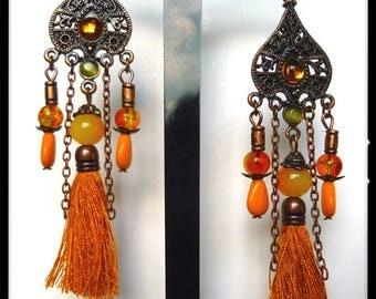 """Earrings ethnic """"Mysore"""" copper metal beads orange Czech glass, copper chain tassel"""