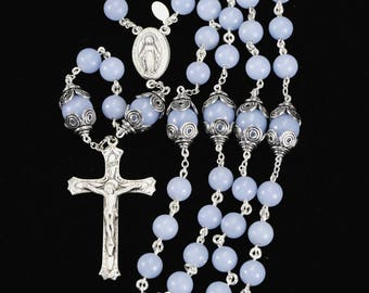Blue Angelite Catholic Rosary - Handmade Heirloom Rosaries Gift for Women with Sterling Silver, Miraculous Medal center & Ornate Crucifix