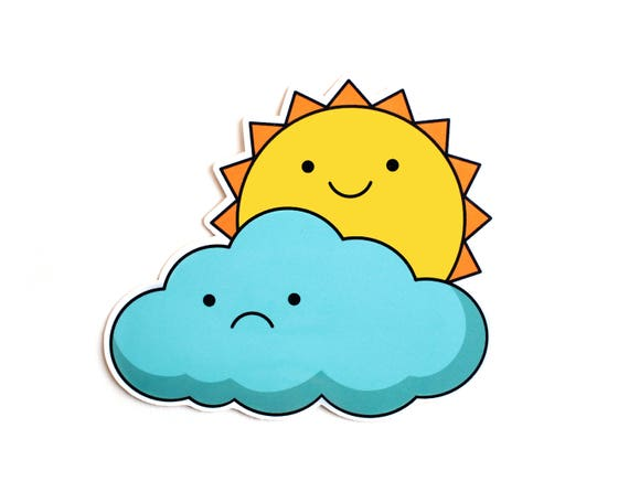 Sun and Cloud Vinyl Sticker
