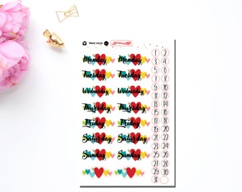 Heart Date Cover Stickers