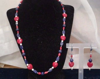 Coral, Lapis Lazuli and Shell Beaded Necklace, Bracelet and Earrings Set, #498
