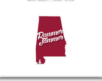 Rammer Jammer Alabama Roll Tide State Graphic - Digital Download - Alabama SVG - Bama SVG - Alabama Cut File Ready to Use!