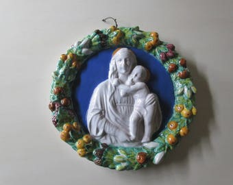 ITALY CERAMIC WALL Decor of Mary and Jesus