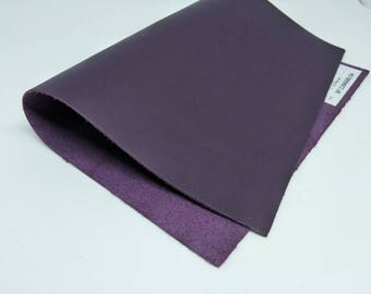 "Leather Scrap, Violet,  Genuine Leather, Leather Pieces, Size 8.25"" by 11.5"", Leather Scrap for DIY Projects."
