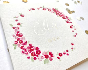 New baby greeting card, watercolour, typography, calligraphy, floral, gold, pink