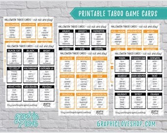 Halloween/Fall Taboo Game 54 Cards | Scary, Fun, Horror, Party Supplies, Black and Orange | PDF, Instant Download, Printable