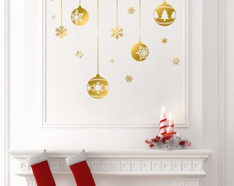 4 Christmas Balls and Snowflakes Graphic Stickers_Gold
