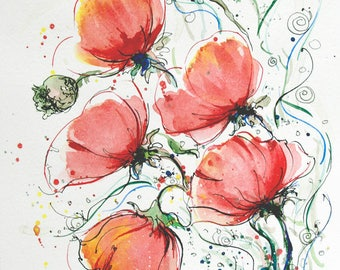 Red Poppies painting Poppies original painting Floral flower art Red poppies wall art flower painting colorful painting red poppies art