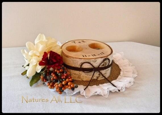 Ring Box/Wedding Ring Holder-White Birch/Free Personalized/Alternative Ring Bearer Pillow/Tree Slice Ring Holder/Rustic Wedding Decor