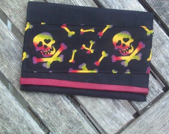 Black coin purse band skulls