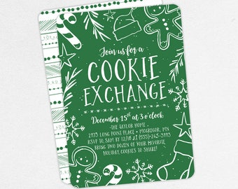 Christmas Party Invitations, Cookie Exchange Invitations, Holiday Party Invitations, Printable Christmas Invitation, Gingerbread Invitations