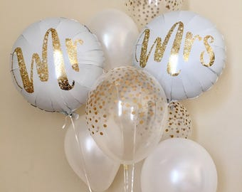 Wedding balloon etsy mr and mrs balloonsgold confetti look balloonswedding balloonsbridal shower balloons junglespirit Gallery