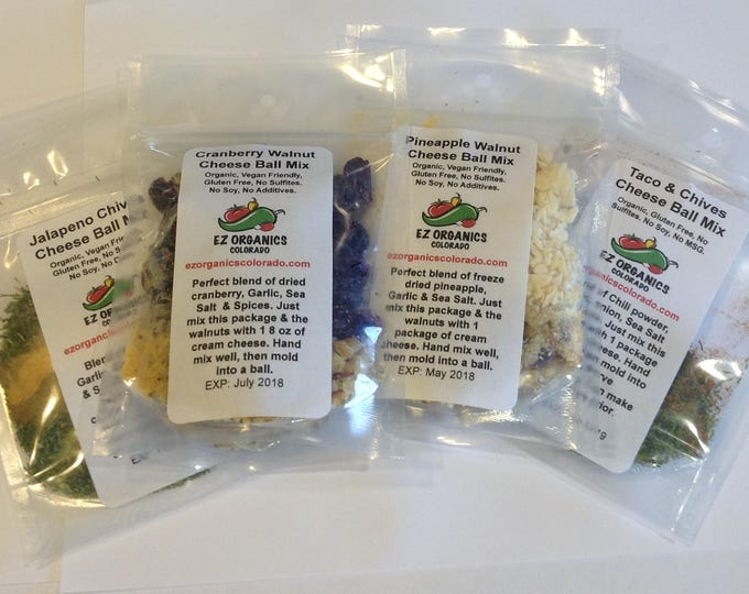 No. 1 seller All 4 of our Organic Cheese Balls Mixes Great for entertaining or the holidays No additives or preservatives