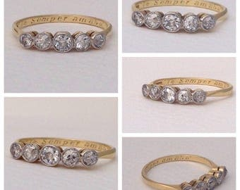 Antique ~ early 20th century ~ Edwardian ~ Art Deco ~ 0.5ct Five Stone Diamond Ring ~ 18ct Gold and Platinum ~ size UK M.5 or US 6.25