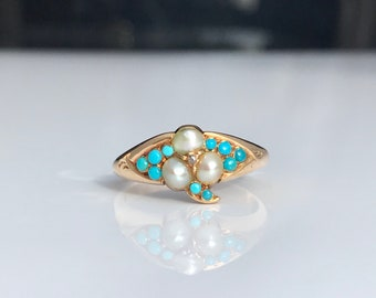 Antique ~ Turquoise and Pearl 18ct Gold Ring ~ size UK K or US 5.25