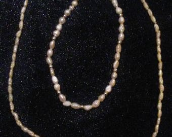 Freshwater Pearl + Gold Necklace / Bracelet Set - Genuine Baroque Pearls