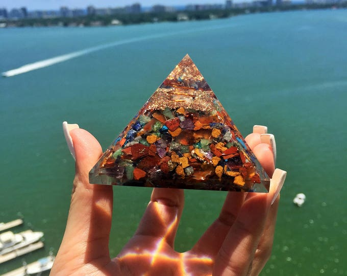 Featured listing image: Orgonite Pyramid w/ Chakra Healing Stones infused w/ Reiki