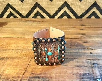Arrows on copper leather bracelet