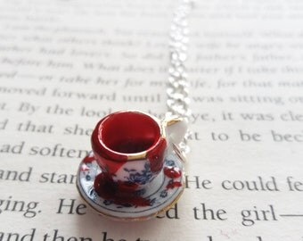 Cup of blood necklace. Horror necklace. Vampire necklace. Gothic necklace. Creepy necklace. Horror jewelry. Gothic gift. Gothic jewelry.