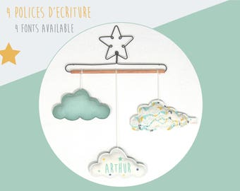 Mobile Star baby name and clouds - decorative wall mustard yellow and Mint Green