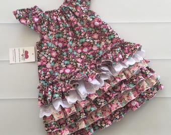 Girls Dress, Ruffle Dress, first birthday dress, girls party dress, size 2, flower dress