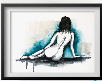 Female Nudity, Nude woman art, Bedroom Art, Original Watercolor, Naked Figure, Bathroom Decor, Adult art, Nude art, Figure painting, Nudes