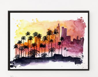 Los Angeles art, Cityscape, Travel art, City art, Illustration, Printable art, Los Angeles print, Poster print, Watercolor print, City print