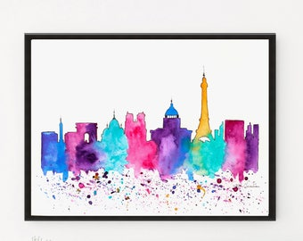 Paris Skyline, City skyline, Watercolor skyline, Travel Illustration, Printable art, Housewarming gift, Gift ideas, Art Print, Paris poster